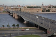 Alexander Nevsky Bridge across the Neva River in St. Petersburg