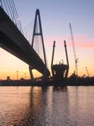 St. Petersburg Ring Road. The Neva crossing with its cable stayed bridge (Big Obukhovsky Bridge) under construction (2006)
