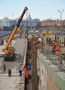Traffic Junction at the Right-Bank Ramp of Liteiny Bridge across the Neva River under construction