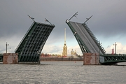 Dvortsovy Bridge across the Neva River in St. Petersburg after reconstruction