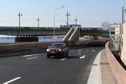 Traffic Junction at the Right-Bank Ramp of Liteiny Bridge across the Neva River in St. Petersburg