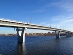 Bridge across the Volga River navigation channel in Balakovo