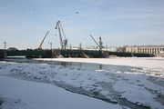 Dvortsovy Bridge across the Neva River in St. Petersburg under reconstruction